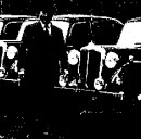 A man stands in front of twelve Daimler cars on a dock
